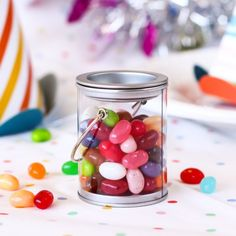 Paint your own perfect party picture with these adorable paint can favor tins.