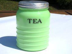 Rare Jadeite Tea Canister Fire King 1930's Vintage Green Jadite Collectable Rare Glass Tea Jeannette Gift