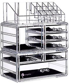 "Cq acrylic 7 Drawers and 16 Grid Makeup Organizer with Cosmetic Storage Cases,9.5""x6.5""x11.8"",Clear 2 Piece Set"