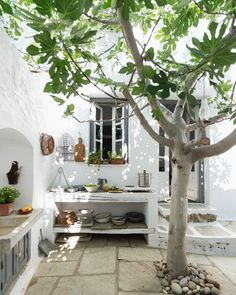 At Daniel Rozensztroch's Greek House, Casa Real, Outdoor Spaces, Outdoor Decor, Little Island, Patio Dining, Mediterranean Style, Architecture, Double Vanity