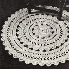 Doily Rug Crochet PDF Pattern 36 in diameter Crochet Doily Rug Pattern – A round rug, 36 inches in diameter, it's a bit of lacy design for your floor decor. Now, how fun it that ? This doily rug pattern is available at Vintage Knit Crochet Pattern Shop Diy Tricot Crochet, Crochet Doily Rug, Crochet Rug Patterns, Crochet Borders, Crochet Round, Crochet Home, Crochet Edgings, Carpet Crochet, Rug Yarn