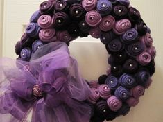 I love the look of this wreath but probably smaller and without the bow. I love the color mix of this Felt Rose Wreath.