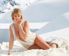 Kate Upton was photographed by Derek Kettela in Antarctica. Swimsuit by Caitlin Kelly Designer Swimwear.