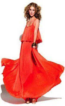 Halston Iconic Pleated Long Dress in Orange on shopstyle.com