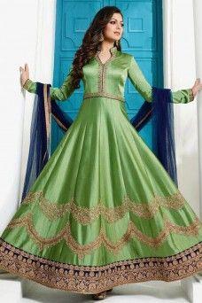 Drashti Dhami Floor Length Silk Fabric Embroidered Bollywood Designer Anarkali  partywear #wedding #traditional #festivewear #etniccollection #sarees #sari #pantstylesuit #plazzosuit #straightcutsuit #gown #chaniacholi #choli #lehenga #suits #salwarkameez #bridalwear #bride #casualwear #printed #embroidered #anarkali #dress #shalwar #model #Germany #Bangkok #green #drashtidhami #ltnityavol100