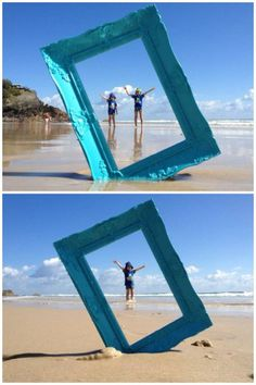 Photo frame beach photography idea, definetly going to do this at my next beach trip Creative Photography, Photography Poses, Family Photography, Photography Ideas Kids, Wedding Photography, Levitation Photography, Exposure Photography, Water Photography, Travel Photography