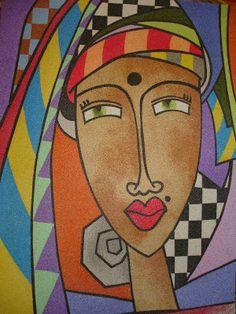 Mulher do deserto  - Quadro de areia colorida -  de Carla Seno Figueredo.