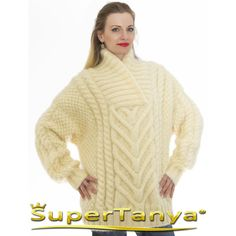 Luxury Handcrafted Knitwear by SUPERTANYA ❤ liked on Polyvore featuring tops, sweaters, beige top, beige sweater and knitwear sweater