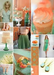 teal and peach wedding - Google Search