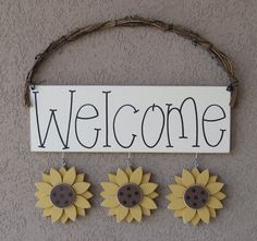 MONTHLY WELCOME SUNFLOWERS Decorations no sign by lisabees on Etsy