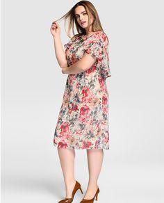 Vestido de mujer talla grande Talla y Moda con estampado floral y manga corta