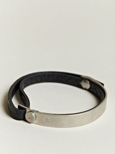 Balenciaga Men's Leather and Metal Bracelet