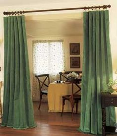 DINING:  skinny rod with rings and simple pleating...gentle folds...is this good or should use blanks design