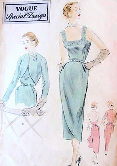 1950s  COCKTAIL EVENING DRESS, JACKET PATTERN  SLIM SKIRTED FRONT WRAP, CAMISOLE BODICE, FITTED BOLERO VOGUE SPECIAL DESIGN 4181