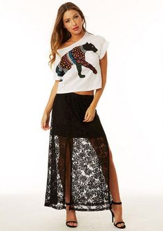 Cute skirt but not with the shirt maybe a loosed fitting covering blouse tucked in and a cut out or a cage in the back