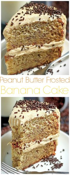 Banana Layer Cake with Salted Honey Peanut Butter Frosting