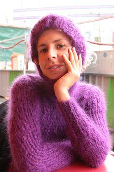 Catsuit, Fluffy Sweater, Angora Sweater, Turtleneck, Gros Pull Mohair, Big Wool, Waist Cincher Corset, Red T, Waist Training Corset
