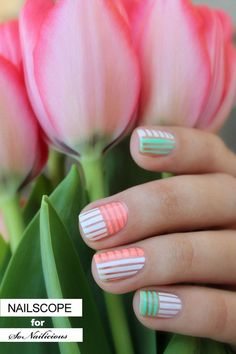 You will surely love the warm and fuzzy colors that this cute nail art gives you. Coated in Summer hues of white, melon and spring green, the horizontal and vertical stripes running across the nails shows a very unique design that's very eye catching.