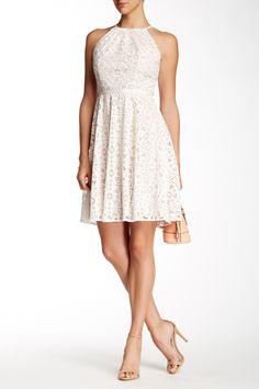 Maggy London | Cutaway Burnout Lace Fit & Flare Dress | HauteLook