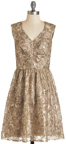 Decode 1.8 Twinkling at Twilight Dress in Champagne on shopstyle.com - I ordered this gem from Lord & Taylor, but I can't pin from their site and their version is just a bit more subtle - might be ugly but killer cyber monday sale