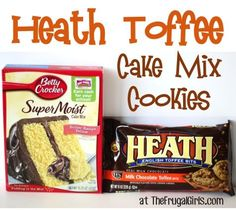 Toffee Cake Mix Cookies Recipe ~ from ~ if you like Heath bars, you'll LOVE these cookies! Just 4 ingredients!Heath Toffee Cake Mix Cookies Recipe ~ from ~ if you like Heath bars, you'll LOVE these cookies! Just 4 ingredients! Cake Mix Cookie Recipes, Cake Mix Cookies, Yummy Cookies, Cookies Et Biscuits, Cake Recipes, Cookie Mixes, Cookie Cups, Köstliche Desserts, Delicious Desserts