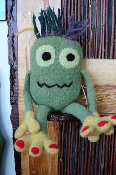 Large Felted Monster Papa Mumster Knitted and needle by mkervin, $48.00