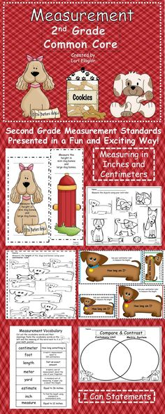 This product covers all the 2nd grade common core standards for measurement in an adorable puppy theme. It has I Can Posters, vocabulary cards, 7 activities that can be used for learning centers, or small group instruction, and 6 b worksheets for independent practice. The file has 74 pages of activities your children will love!