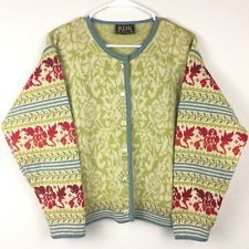 OLEANA Women Norwegian Wool Cardigan Top Button Jacket Sweater Green Red Small