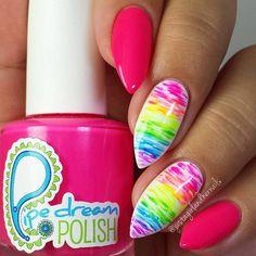 Neon Multicolor Stiletto Nails