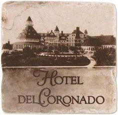 Wonderful Marble coaster with vintage image of Hotel Del Coronado