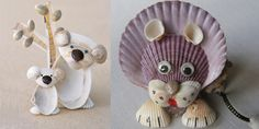 Popular items for shell animals on Etsy – BuzzTMZ Sea Crafts, Nature Crafts, Diy And Crafts, Crafts For Kids, Arts And Crafts, Seashell Art, Seashell Crafts, Shell Animals, Seashell Projects