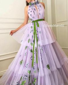 Details - Lavender dress color - Plesir dress fabric - Handmade embroidered green and violette flowers - Green velvet ribbon - Ball-gown with waist definition and flowery neck - For parties and special events Grad Dresses, Ball Gown Dresses, Evening Dresses, Dress Up, Dress Shoes, Elegant Dresses, Pretty Dresses, Beautiful Dresses, Formal Dresses