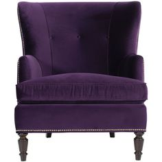 Nia Hollywood Regency Antique Nickel Nailhead Purple Armchair found on Polyvore featuring home, furniture, chairs, accent chairs, purple chair, nail head chair, nailhead chair, nailhead accent chair and purple furniture