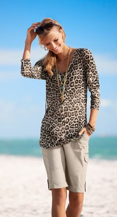 Love Leopard: Our favorite color on a breezy tunic. Spot-on fabulous. #chicossweeps