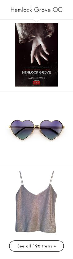 """""""Hemlock Grove OC"""" by r417 ❤ liked on Polyvore featuring accessories, eyewear, sunglasses, glasses, wildfox eyewear, wildfox sunglasses, heart shaped glasses, metal frame heart sunglasses, wildfox glasses and tops"""