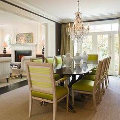 Chartreuse Chairs, Transitional, dining room, Graciela Rutkowski Interiors