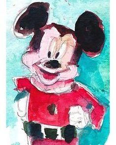 "RIFKIN ""SANTA MICKEY MOUSE"" Original ACEO Watercolor 2.5 x 3.5"