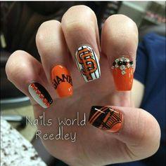 San Francisco Giants Nails. Black and orange nails. Baseball nails. Rhinestones.