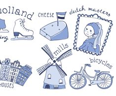 More illustrations for my Dutch project -part 2- #sneakpreview #illustration #illustratie #graphicdesign #pencil #drawing #handlettering #delftblue #Holland #Dutch #Delft #cheese #kaas #gouda #iceskating #canalhouses #grachtenpandjes #dutchmasters #hollandsemeesters #vermeer #johannesvermeer #meisjemetdeparel #fietsen #bicycles #iconsofholland #I❤️Holland