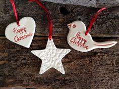 Handmade Christmas Decorations - Set of Three White Lace Stars
