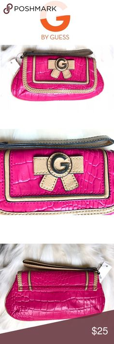 New G by Guess pink clutch 👛 Brand new Guess clutch/ wristlet in a beautiful combination of pink and beige with bow design. Interior designed in black and white polka dot pattern. 💕🎀 G by Guess Bags Clutches & Wristlets