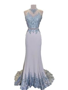 Halter Grey Lace Appliqued Jersey Mermaid Prom Dress with Sweep Train  APD2349. Two Piece Evening DressesProm ... 917de498e40d