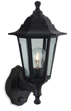 Firstlights Malmo PIR Security Lantern Is Available From Luxury Lighting A Black Resin Exterior Wall