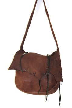 Vintage ERDA Deerskin Purse  Brown Leather Hobo by SubtleFunk