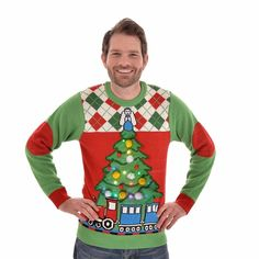 Kersttrui met licht Tree and Train voor mannen XL Christmas Sweaters, Christmas Ornaments, Meet, Xl, Holiday Decor, Products, Christmas Jewelry, Christmas Decorations, Beauty Products