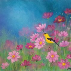 Goldfinch Flower Field Landscape Acrylic Painting Tutorial on YouTube by Angela Anderson