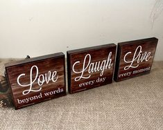 Live Laugh Love Wood Sign - Live Every Moment - Laugh Every Day - Love Beyond Words - Inspirational Home Decor Blocks - Valentines Day Gift #WoodProjectsDiyWoodenSigns
