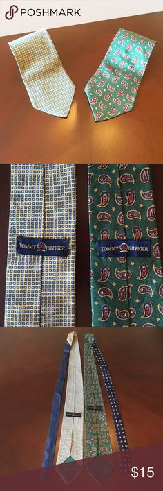 2 Tommy Hilfiger Ties! Both Unique Two-Tone Style Lot of two (2) Tommy Hilfiger Ties. Beautiful patterns and color combinations. Both ties are 100% Silk! Minor stain on one tie (see last photo). Classic Brand Tag for easy Recognition. Comes wrapped in protective sleeve.  Smoke-Free as always. Ships in 24 hrs or less! BUNDLE and SAVE 15% + Save on Shipping! Tommy Hilfiger Accessories Ties