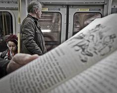 people reading on subways