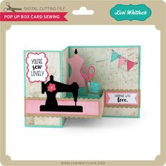 sewing machines Silhouette Design Store: pop up box card sewing - Z Cards, Fun Fold Cards, Card Tags, Folded Cards, Cute Cards, Kirigami, Rena, Pop Up Box Cards, Sewing Cards